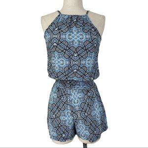 Blue black print romper, size xs by Hot Gal